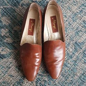 Maripe Leather Loafers Cognac 9N vintage